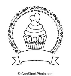contour circular border with cupcake with cream and chocolate cookie