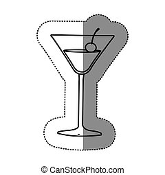contour cocktail beverage with cherry icon