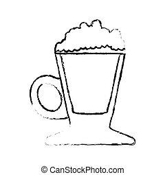Contour coffee cream glass icon