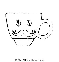 Contour coffee cup with moustache icon