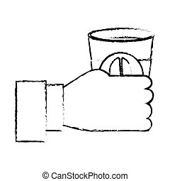 Contour coffee cuppa in the hand icon