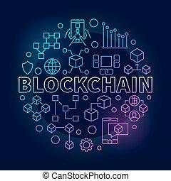 contour, coloré, blockchain, illustration, vecteur,...
