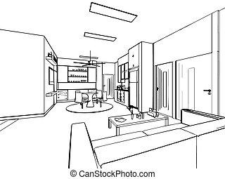 Croquis, contour, maison, perspective, intérieur, dessin.... clipart ...