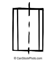 contour, croquis, drawing., divisé, illustration, main, arrière-plan., 3, vecteur, noir, blanc, parts., rectangle