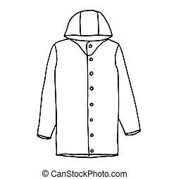 contour, croquis, drawing., raincoat., illustration, main, arrière-plan., vecteur, noir, monochrome, blanc