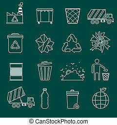 contour, déchets, icônes