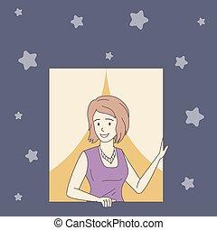 contour, dehors, femme regarde, vecteur, fenêtre, nuit, illustration., dessin animé