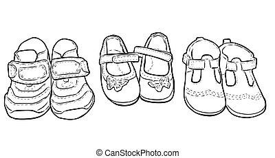 contour, dessins, enfants, chaussures, ensemble, peu