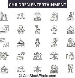 contour, divertissement, ensemble, icônes, illustration:, divertissement, vector., signes, ligne, enfants, concept