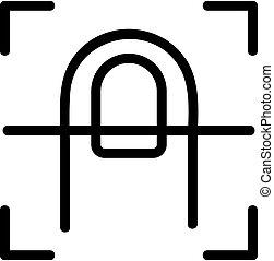 contour, doigt, vector., illustration, scanner, symbole, isolé, icône