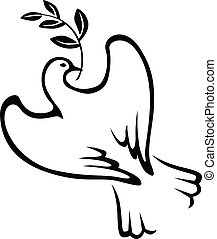 Symbol peace of contour dove with a palm branch