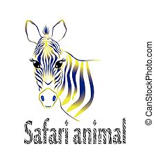 contour drawing full-face zebra with yellow  blue gradient fill