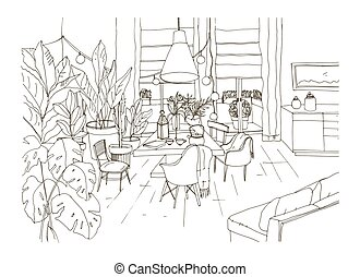 Contour drawing of cozy dining or living room furnished in...