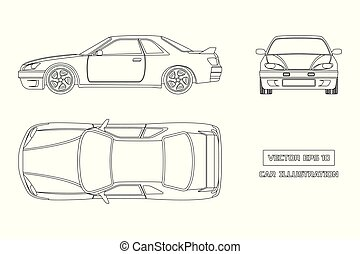 Contour drawing of the car on a white background. Top, front and side view. The vehicle in outline style