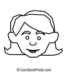 contour face happy woman icon
