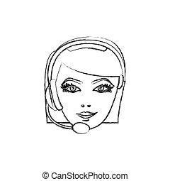 contour face woman technological services icon