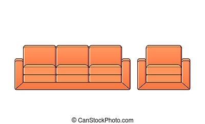 contour, fauteuil, sofa, divan, vecteur, icon., illustration.