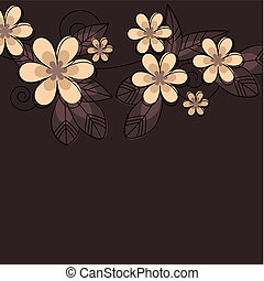 Contour flowers and leaves on dark background