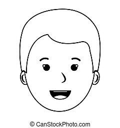 contour front view boy face