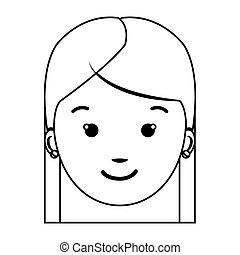 contour front view girl face icon