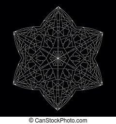 contour, géométrique, figure, polyhedron., hexagonal, star.