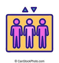 contour, gens, vector., illustration, symbole, ascenseur, isolé, icône