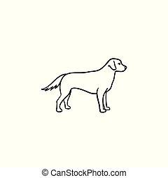 contour, griffonnage, chien, main, dessiné, icon., amical