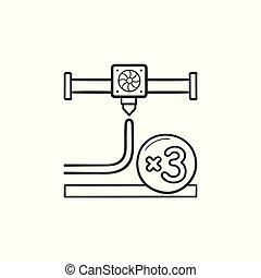 contour, griffonnage, lance, main, impression, dessiné, icon., 3d
