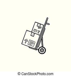 contour, griffonnage, main, boîtes, charrette bras, dessiné, icon., carton