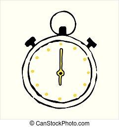 contour, griffonnage, main, chronomètre, dessiné, icône