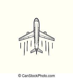 contour, griffonnage, main, dessiné, avion, icon.