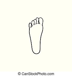 contour, griffonnage, main, empreinte, dessiné, icon.