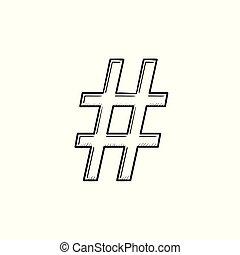 contour, griffonnage, main, hashtag, dessiné, icon.
