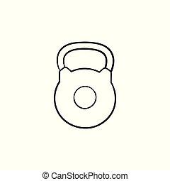 contour, griffonnage, main, kettlebell, dessiné, icon.