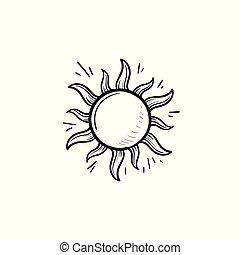 contour, griffonnage, main, soleil, dessiné, icon.