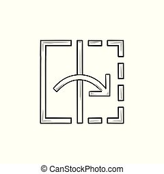 contour, griffonnage, outillage, transformer, main, dessiné, icon.