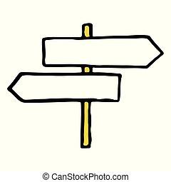 contour, griffonnage, signe, dessiné, main, route, icône