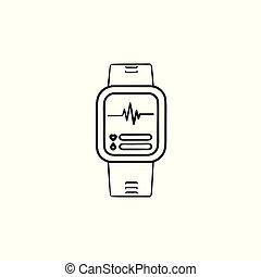 contour, griffonnage, smartwatch, main, dessiné, icon.