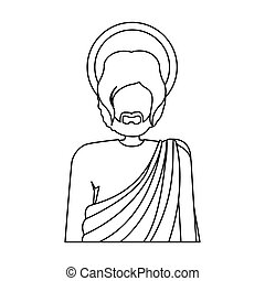 contour half body figure human of saint joseph