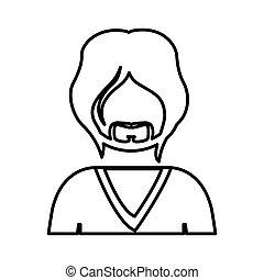 contour half body man with beard