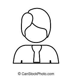 contour half body man with suit