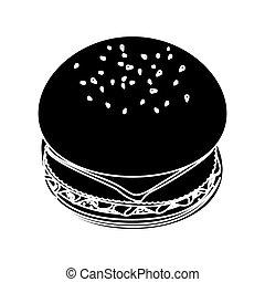 contour hamburger fast food icon