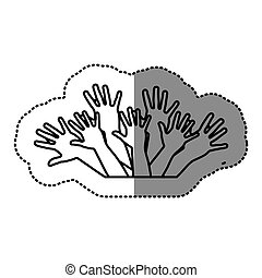 contour hands up together icon