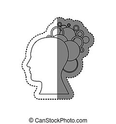contour human with bubbles icon