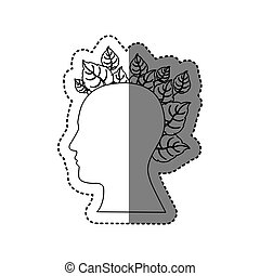 contour human with leaves icon