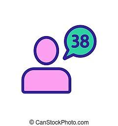 contour, icône, homme, vector., symbole, température, isolé, illustration