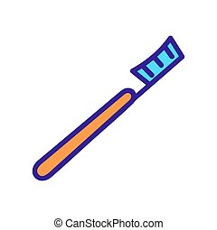 contour, icône, symbole, illustration, isolé, brosse dents, vector.