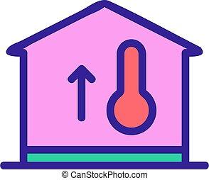 contour, icône, vecteur, bâtiment, température, chaud, illustration