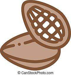 contour, icône, vecteur, illustration, cacao, bob