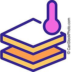 contour, icône, vecteur, température, plancher, illustration